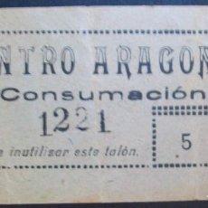 Billetes locales: CATALUÑA/CATALUNYA.VALE 5 CÉNTIMOS CENTRO ARAGONÉS. BARCELONA. CONSUMACIÓN. Lote 140270254
