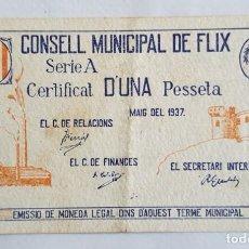 Billetes locales: F 1717 BILLETE CONSEJO MUNICIPAL 1 PESETA FLIX - T-1188 -R. Lote 140655838