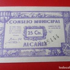 Billetes locales: GUERRA CIVIL ESPAÑOLA. CONSEJO MUNICIPAL DE ALCAÑIZ. BILLETE DE 25 CENTIMOS.1937. Lote 140892990