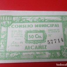 Billetes locales: GUERRA CIVIL ESPAÑOLA. CONSEJO MUNICIPAL DE ALCAÑIZ. BILLETE DE 50 CENTIMOS.1937. Lote 140893430