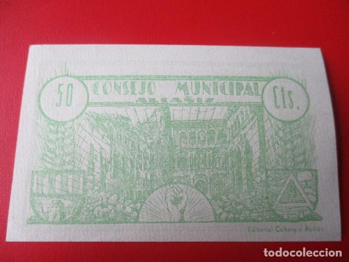 Billetes locales: Guerra civil Española. Consejo municipal de Alcañiz. Billete de 50 centimos.1937 - Foto 2 - 140893430