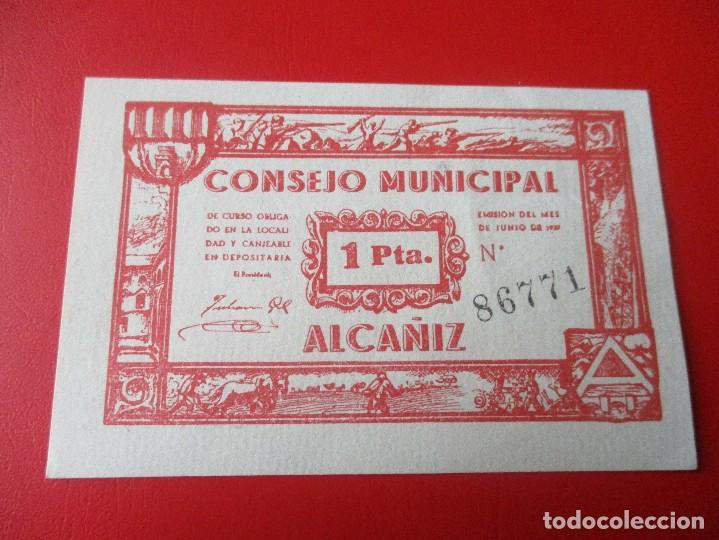 GUERRA CIVIL ESPAÑOLA. CONSEJO MUNICIPAL DE ALCAÑIZ. BILLETE DE 1 PESETA.1937 (Numismática - Notafilia - Billetes Locales)