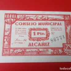 Billetes locales: GUERRA CIVIL ESPAÑOLA. CONSEJO MUNICIPAL DE ALCAÑIZ. BILLETE DE 1 PESETA.1937. Lote 140893626