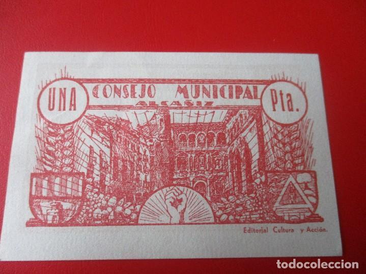 Billetes locales: Guerra civil Española. Consejo municipal de Alcañiz. Billete de 1 peseta.1937 - Foto 2 - 140893626