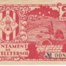 Billetes locales: BILLETE DE 25 CENTIMOS DEL AJUNTAMENT DE CASTELLTERSOL DEL AÑO 1937 . Lote 140894810