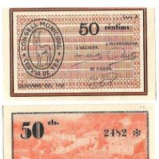 Billetes locales: CONSELL MUNICIPAL DE CERVIA DE TER *** 50 CENTIMS ***. Lote 140923554