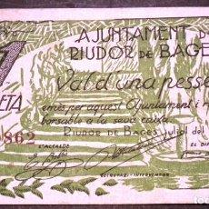 Billetes locales: BILLETE LOCAL RIUDOR DE BAGES 1 PTA. Lote 142213218