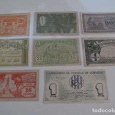 Billetes locales: LOTE 8 BILLETE LOCAL DE GUERRA CIVIL, DISTINTOS, SEGURAMENTE COPIAS DE AÑOS 90. . Lote 143781642