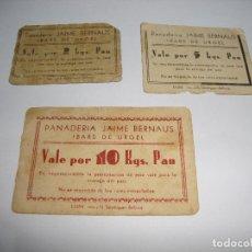 Billetes locales: VALES POR 2 , 5 , 10 KILOS PANADERIA JAIME BERNAUS IBARS DE URGEL LERIDA. Lote 144072922