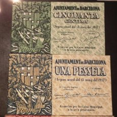 Billetes locales: BILLETE LOCAL BARCELONA LOTE: 50 CTS 1 PTA Y 1,50 PTS. Lote 144139658