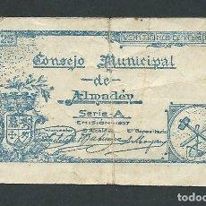 Billetes locales: BILLETE CONSEJO MUNICIPAL DE ALMADEN SERIE A AÑO 1937 NUMERADO 0,25. Lote 144571786