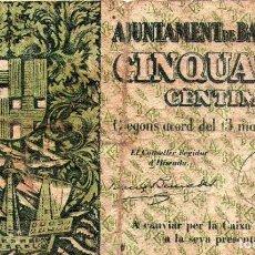 Billetes locales: AJUNTAMENT DE BARCELONA 50 CENTIMOS 13 DE MAYO 1937. Lote 145221334