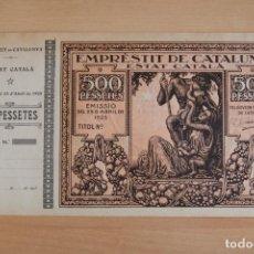 Billetes locales: EMPRÈSTIT DE CATALUNYA. MACIÀ. GENERALITAT. ESTAT CATALÀ. 1925. GENERALIDAD CATALUÑA. 500 PESSETES. Lote 145435722