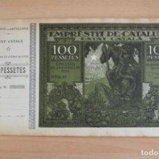 Billetes locales: ERROR EMPRÈSTIT DE CATALUNYA. MACIÀ. GENERALITAT ESTAT CATALÀ 1925 EMPRÉSTITO. CATALUÑA 100 PESSETES. Lote 145436870