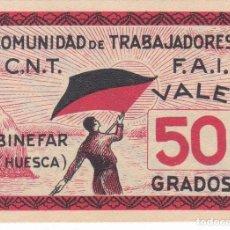 Billetes locales: BILLETE DE 50 GRADOS DE BINEFAR COMUNIDAD TRABAJADORES C.N.T - F.A.I. SIN CIRCULAR (HUESCA) RARO . Lote 146307178