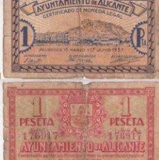 Billetes locales: 1 PESETA D´ ALICANTE GUERRA CIVIL OJO INVERSIÓN. Lote 151567266