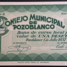 Billetes locales: ESPAÑA BILLETE LOCAL POZOBLANCO (CÓRDOBA) 1 PESETA 1937. Lote 146443890