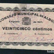Billetes locales: ESPAÑA BILLETE LOCAL ALBOX (ALMERÍA) 25 CÉNTIMOS1937. Lote 146444290
