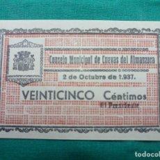 Billetes locales: ESPAÑA BILLETE LOCAL CUEVAS DEL ALMANZORA 25 CENTIMOS 1937. Lote 146444758