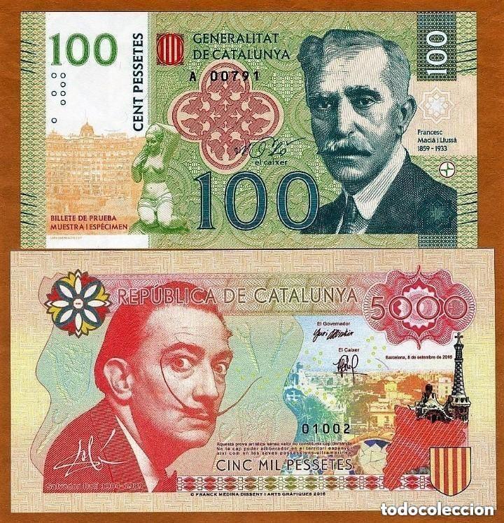 SET ESPAÑA CATALUNYA CATALUÑA 5000 & 100 PESSETES 2016 / 2017 UNC EDICION PRIVADA ENSAYO (Numismática - Notafilia - Billetes Locales)