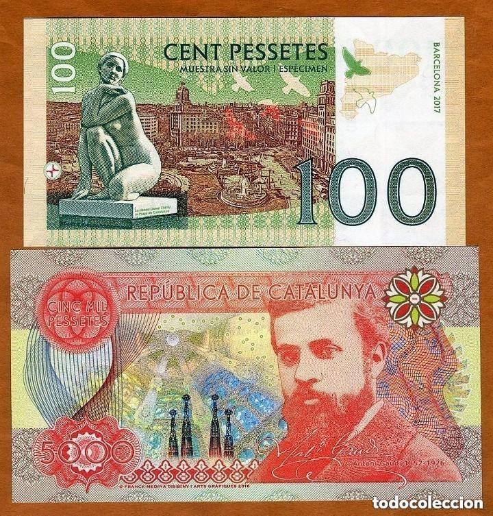 Billetes locales: SET ESPAÑA CATALUNYA CATALUÑA 5000 & 100 PESSETES 2016 / 2017 UNC EDICION PRIVADA ENSAYO - Foto 2 - 165398638