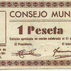 Billetes locales: (BP-1)BILLETE CONSEJO MUNICIPAL MONZON 1 PESETA - AGOSTO 1937. Lote 147043246
