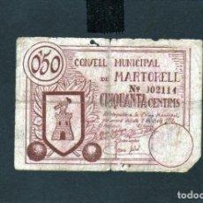 Billetes locales: BILLETE DEL CONSELL MUNICIPAL DE MARTORELL DE LA GUERRA CIVIL 1937 DE VALOR 0,50 CTS. RARO. Lote 147079490