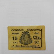Billetes locales: BILLETE LOCAL DE 15 CTS. CONSEJO MUNICIPAL DE ANDUJAR ( JAÉN ). Lote 147455538