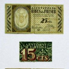 Billetes locales: TRES BILLETES LOCALES CATALANES DE RIBES DE FRESES, BARCELONA Y BANYOLES. LOTE 0959. Lote 147509002