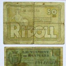 Billetes locales: TRES BILLETES LOCALES CATALANES DE RIPOLL, BANYOLES Y BARCELONA. LOTE 0960. Lote 147510370
