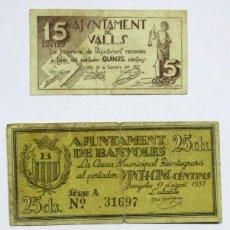 Billetes locales: TRES BILLETES LOCALES CATALANES DE VALLS, BANYOLES Y VILANOVA I LA GELTRU. LOTE 0961. Lote 147511874
