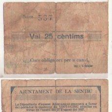 Billetes locales: 0,25 PESETA DEL AYUNTAMIENTO DE SENTIU DE SIO GUERRA CIVIL BILLETE LOCAL MBC FIRMA MANUESCRITA. Lote 148678942