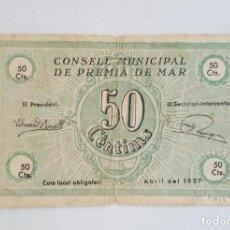 Billetes locales: F 1174 BILLETE AJUNTAMENT DE PREMIA DE MAR 50 CÉNTIMOS T2313. Lote 149701862