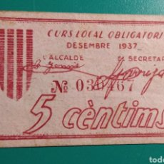 Billetes locales: ESPAÑA. 5 CÈNTIMS 1937. VILASSAR DE DALT.. Lote 149762798