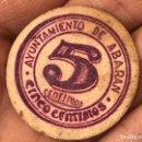 Billetes locales: MONEDA BILLETE LOCAL DE CARTÓN 5 CÉNTIMOS ABARAN GUERRA CIVIL. Lote 149977124