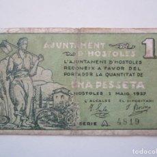 Billetes locales: BILLETE LOCAL 1 PESETA HOSTOLES 1937 GUERRA CIVIL. Lote 151306922