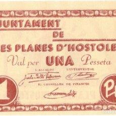 Billetes locales: BILLETE LOCAL - GUERRA CIVIL - AJUNTAMENT DE LES PLANES D´HOSTOLES - UNA PESETA - GERONA. Lote 151482218