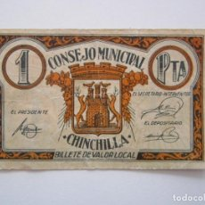 Billetes locales: BILLETE LOCAL 1 PESETA CHINCHILLA R 1937 GUERRA CIVIL. Lote 151542014