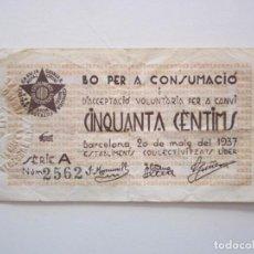 Billetes locales: BILLETE LOCAL UNA CONSUMICION LIBER BARCELONA R 1937 GURRRA CIVIL. Lote 151542778