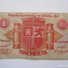 Billetes locales: BILLETE LOCAL1 PESETA JUMILLA R 1937 GURRRA CIVIL. Lote 151542882
