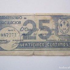 Billetes locales: BILLETE LOCAL 25 CENTIMOS MANZANARES R 1937 GURRRA CIVIL. Lote 151543130