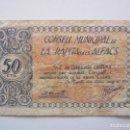 Billetes locales: BILLETE LOCAL 50 CENTIMOS LA RAPITA DELS ALFACS 1937 GUERRA CIIVIL. Lote 151873330