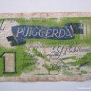 Billetes locales: BILLETE LOCAL 1 PESETA PUIGCERDA 1937 GUERRA CIVIL. Lote 151879714