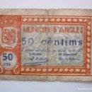 Billetes locales: BILLETE LOCAL 50 CENTIMOS ANGLES 2ª EMISION 1937 GUERRA CIVIL. Lote 151882210