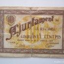 Billetes locales: BILLETE LOCAL 50 CENTIMOS LA SEU D'URGREL 1937 GUERRA CIVIL. Lote 152035054