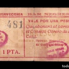 Billetes locales: 1 PESETA BAR NEGRESCO (VALENCIA), EXTREMADAMENTE RARO RRRR. Lote 154183170
