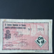 Billetes locales: ENGUERA 25CTS. Lote 154470866