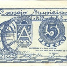 Billetes locales: GUERRA CIVIL - BILLETE LOCAL - CONSEJO MUNICIPAL - VELILLA DE EBRO - ZARAGOZA - 5 PESETAS - 1937. Lote 154728370