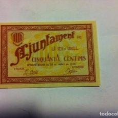 Billetes locales: LA SEU D´URGELL - 50 CTS. 1937 -PLANCHA. Lote 155100946