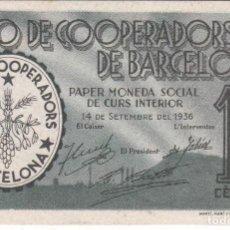Billetes locales: BILLETE DE LA UNIO DE COOPERADORS DE BARCELONA DE 10 CENTIMOS SIN NUMERACION SIN CIRCULAR . Lote 155287082